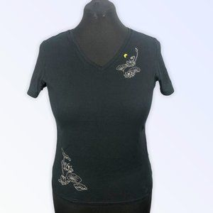 UNIQLO Black Tee With Flowers & butterfly Size XL